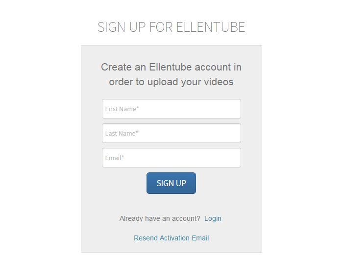 EllenTube Sign Up Form